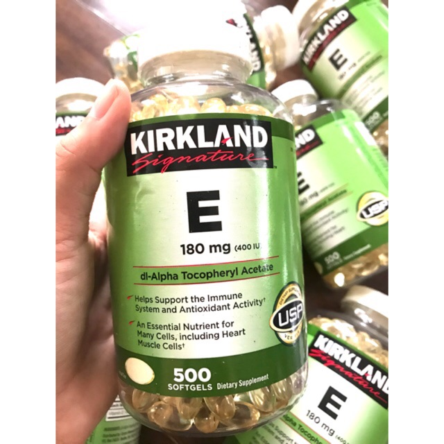 Vitamin E Kirkland 500 viên-Mẫu mới-(date 10-2022),(có hút ẩm)