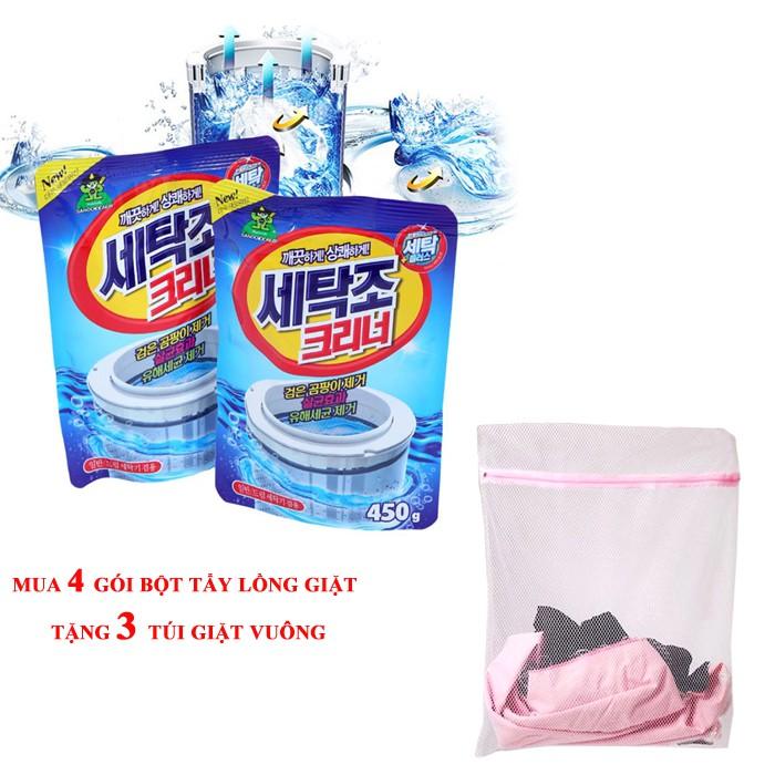 Combo 4 gói bột tẩy lồng giặt hàn quốc + 3 túi giặt vuông