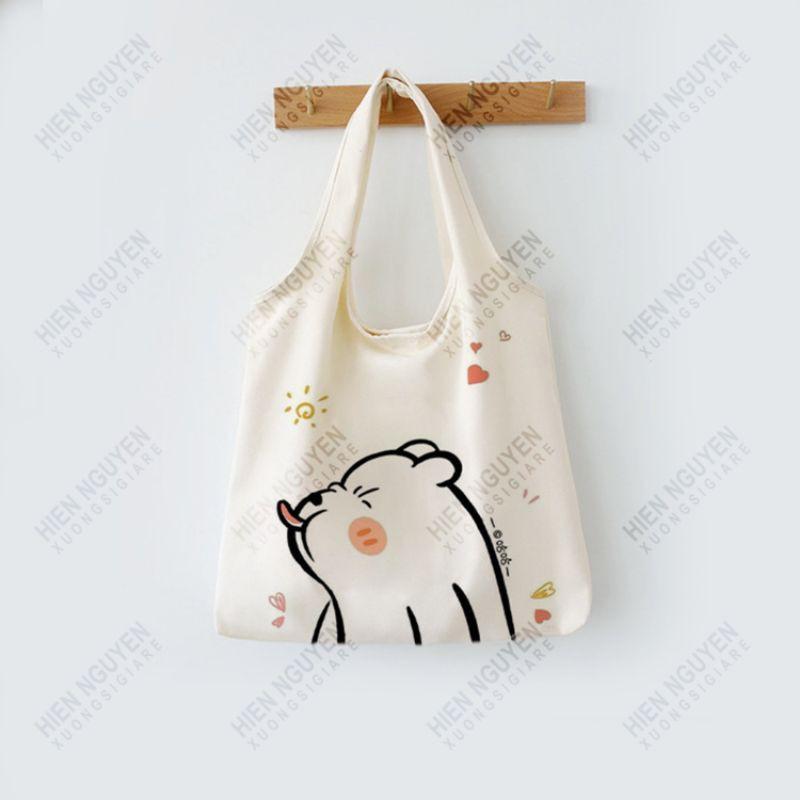 Túi đeo vai đi làm, đi học đẹp giá rẻ, form to, 2 lớp, vải canvas - GẤU LÈ LƯỠI 2