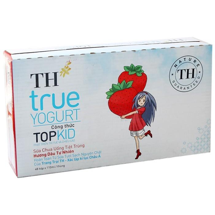 Sữa chua uống TH True Milk vị Dâu hộp 110ml (thùng 48 hộp)