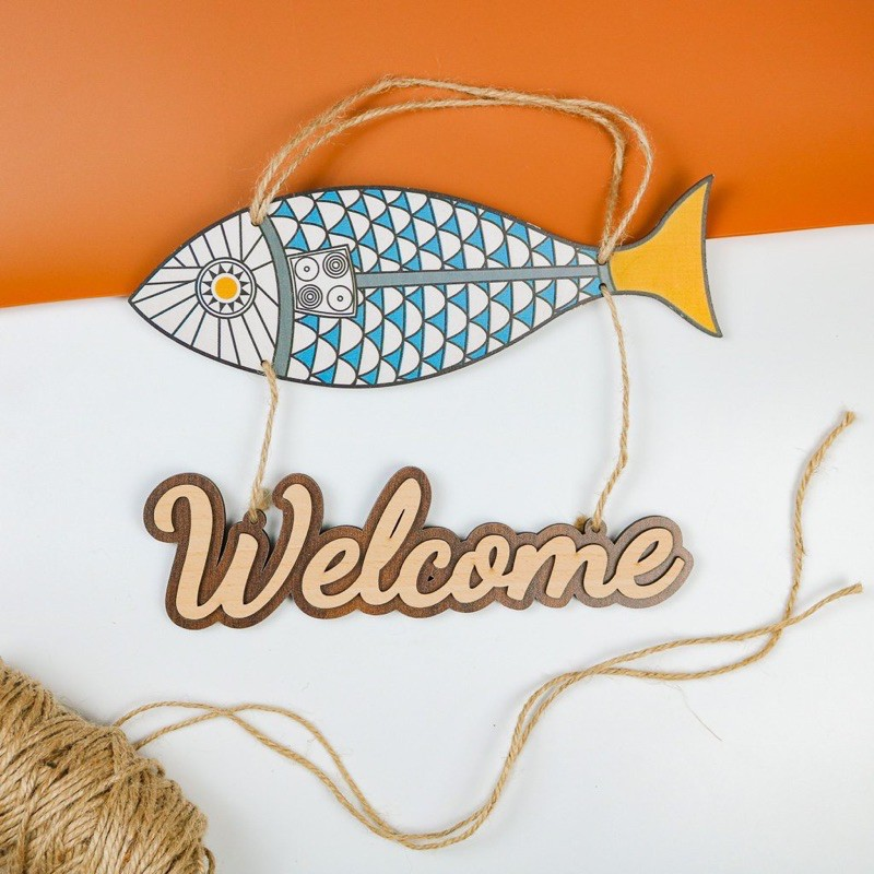 Bảng gỗ decor, bảng gỗ trang trí nhà cửa hình Welcome