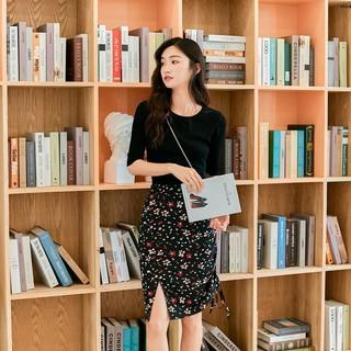 Chân Váy Hoa Lưng Cao Xẻ Tà Phong Cách Retro Cho Nữ