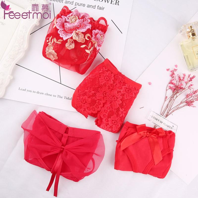 b underwear red open briefs openwork embroidered lace sexy underwear suit female