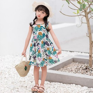 Đầm cotton sát nách xinh xắn dành cho bé gái