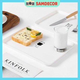 Đĩa ăn sáng đơn giản, khay trà nhựa, đĩa ăn tráng miệng phong cách bắc âu hình chữ nhật làm phụ kiện chụp ảnh đồ ăn