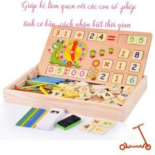 Đồ chơi giáo dục sớm – Đồ chơi toán học có chữ số, que tính,bảng số bằng gỗ cho bé