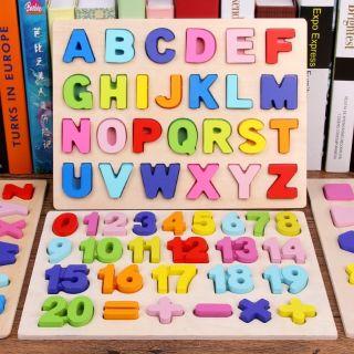 Combo 2 bảng nổi ghép chữ ghép số bằng gỗ cho bé. Giá rẻ nhất thị trường
