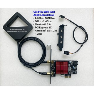 Card thu WiFi Intel AX200, Dual Band, 5G – 2.4Gbs, Bluetooth 5.0, có tản nhiệt.