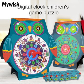 ❤⚽UNU Owl Shape Clock Calendar Cognitive Board Magnetic Puzzles Toy