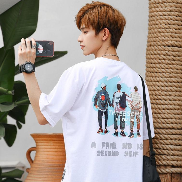 Áo thun nam tay ngắn in hình thời trang Hàn Quốc