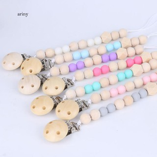 ♞Lovely Wooden Beads Chain Infant Baby Soother Toy Teether Pacifier Clip Holder