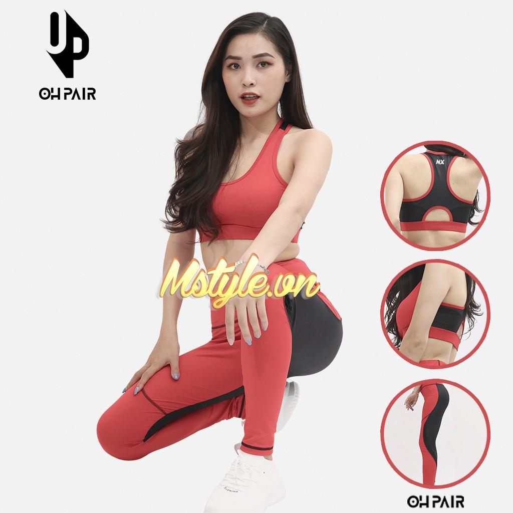 Đồ tập gym nữ, set đồ tập gym yoga nữ vải thun mềm mịn co dãn 4 chiều đỏ đen OPY112