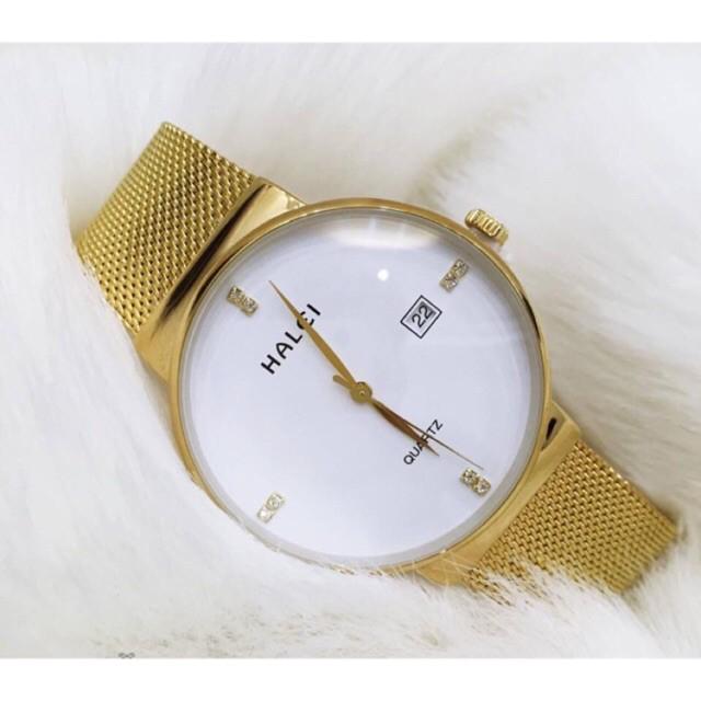 [Mã WTCHFEB giảm 20K ] Đồng hồ nam HALEI HL v6 dây lưới thép vàng siêu sang trọng mẫu hot