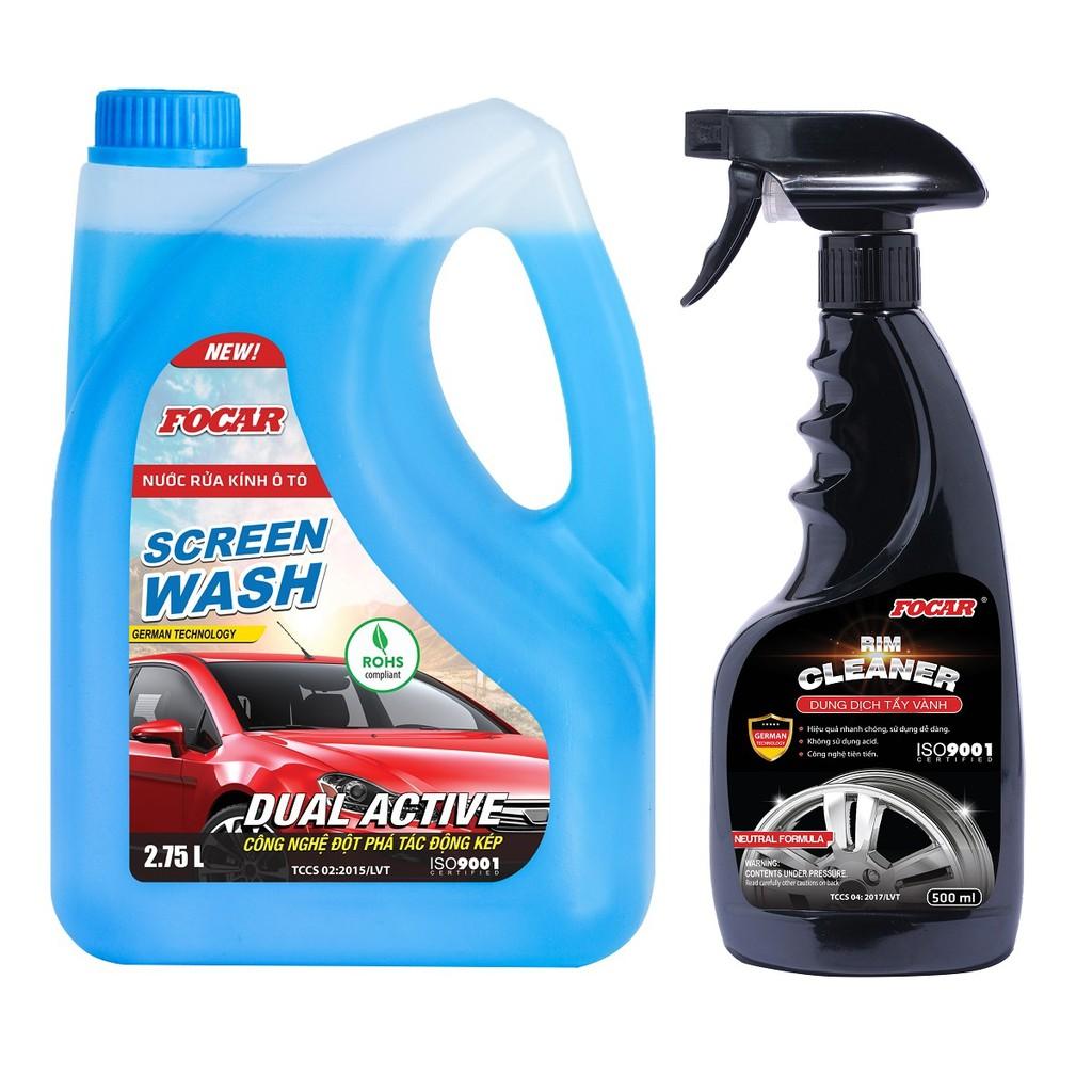Combo Nước rửa kính ô tô 2.75L + Dung dịch tẩy vành lazang Rim Cleaner 500ml