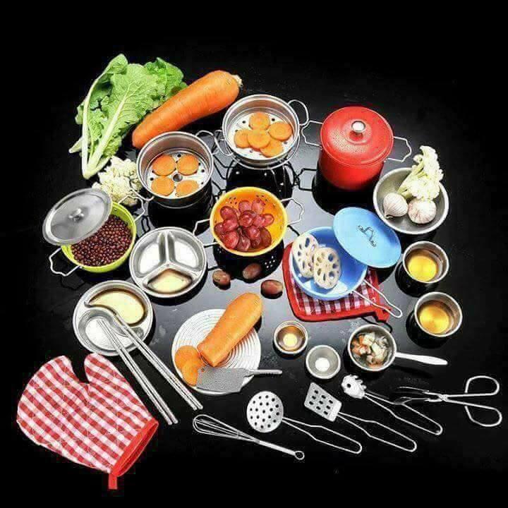 Bộ Đồ Chơi Nấu Ăn Bằng Inox 40 Chi Tiết Cho Bé
