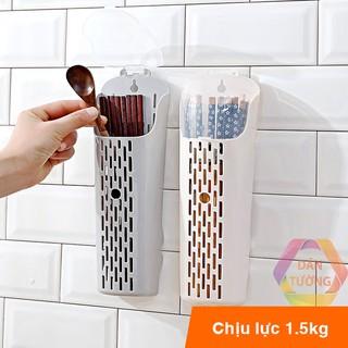 Hũ ống đựng đũa muỗng dán tường nhà bếp không cần khoan tường, ống đũa có nắp đậy, có khe thoát nước _D46