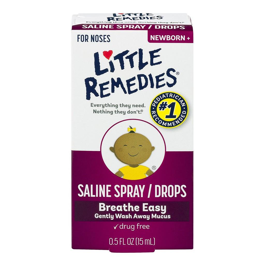 Nước muối sinh lý Little Remedies trị nghẹt mũi cho bé 15ml.