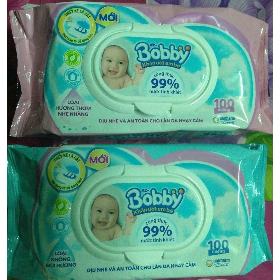 khăn ướt Bobby Care 100 miếng ( Không Mùi / Có Mùi )