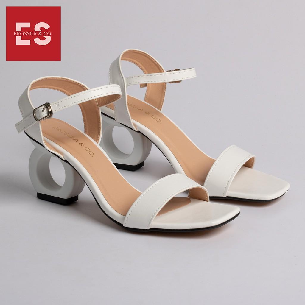 Giày sandal cao gót Erosska thời trang hở mũi phối dây thiết kế sang trọng cao 7cm màu trắng _ EB009