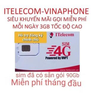 Sim 4G ( Vinaphone đã nạp 77k ) Itelecom MAY TẶNG 90GB/tháng (Giống sim 4G Vinaphone VD89 Plus)