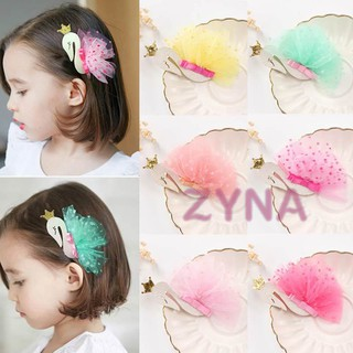 Ready Stock Kids Hairclips Baby Girls Lace Swan Hair Buckle Hairpin Headdress Hair Beauty Accessories &VN