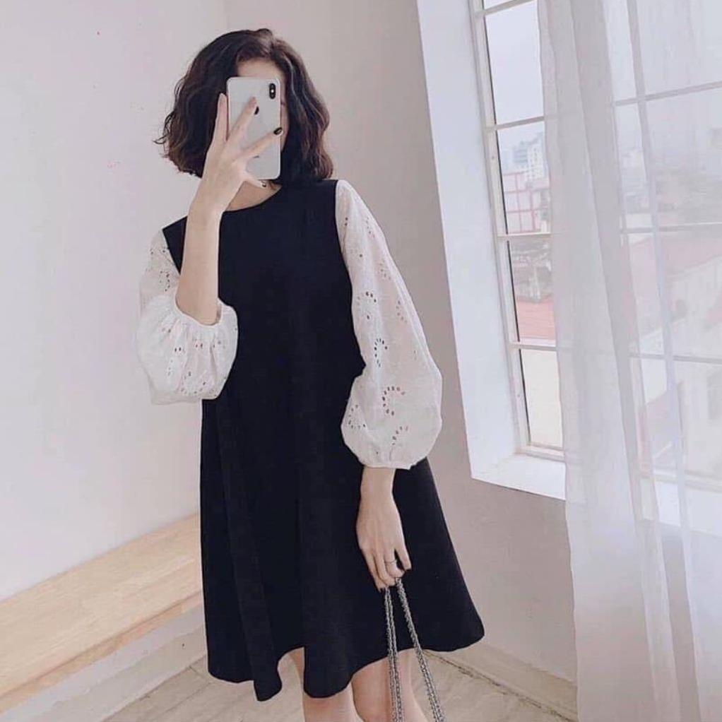 Váy bầu công sở thiết kế dáng suông phối tay trắng chất lụa hàn châu freesize tới 70kg