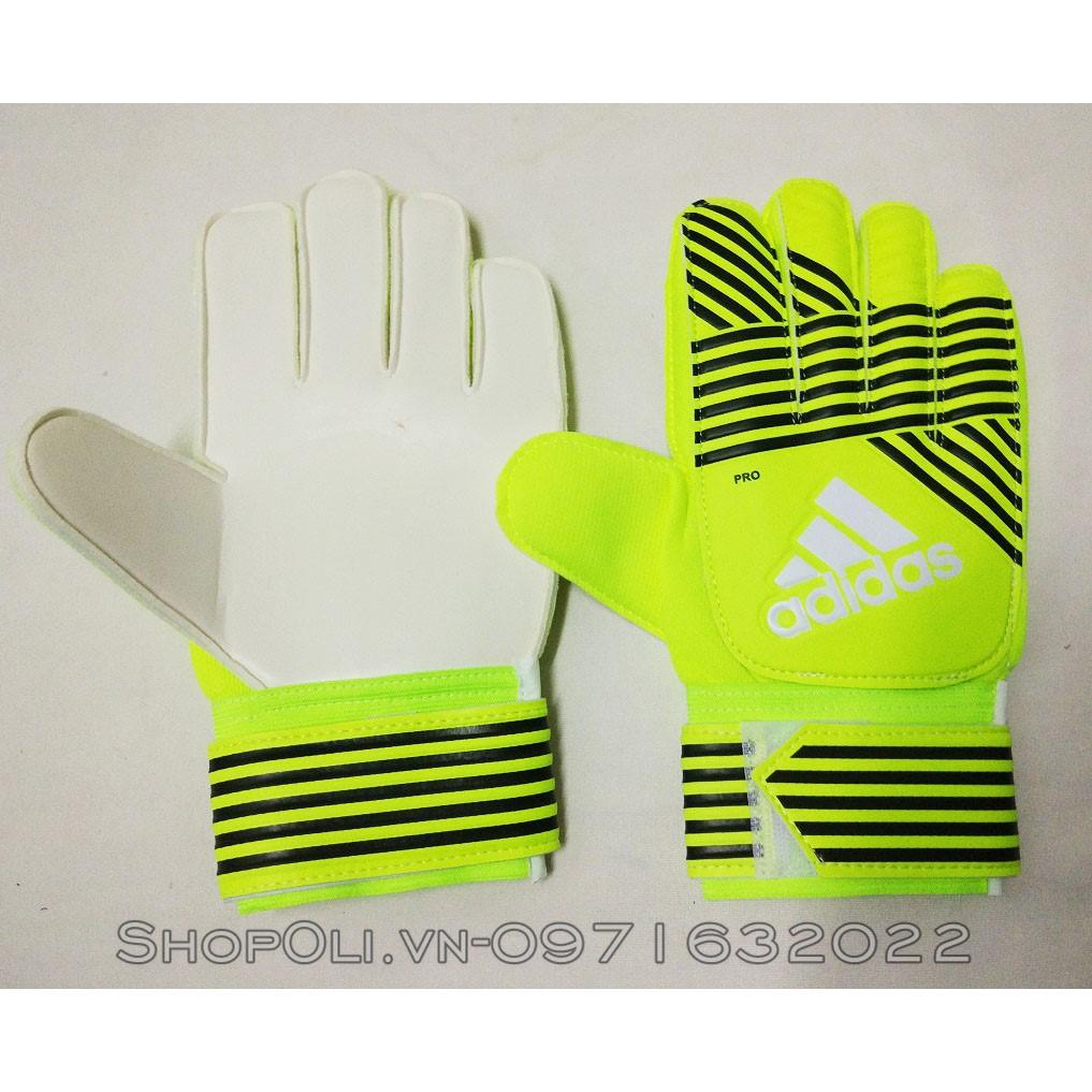 Găng tay thủ môn bóng đá xanh chuối phôi đen có xương bảo vệ ngón tay