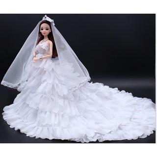 Búp Bê Cô Dâu Xinh Đẹp Váy Trắng Tặng Phụ Kiện Kèm Theo