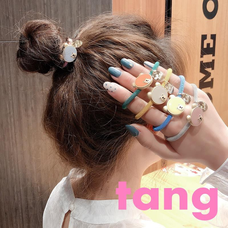 Ins super fire macarons drip cartoon bear bunny hair rope Japanese sweet tie hairline student hair ring