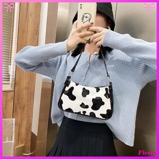 Túi đeo vai chất da PU họa tiết da bò sữa hợp thời trang cho nữ