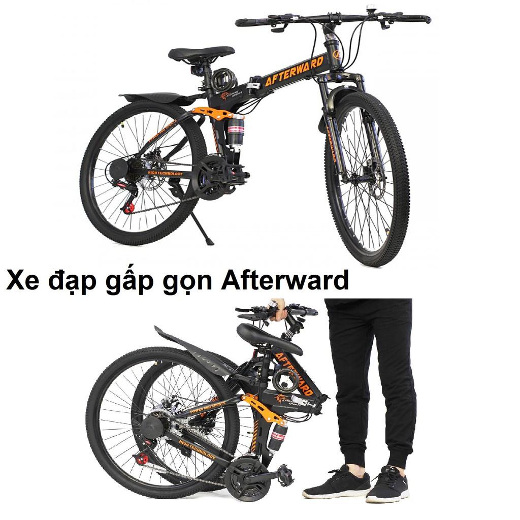 Xe đạp địa hình gấp gọn Afterward + bơm và khóa chống trộm | Shopee Việt Nam