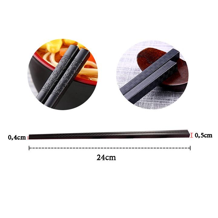 Bộ 10 đôi đũa nhựa - đũa ăn chịu nhiệt kháng khuẩn kiểu Nhật chống trơn phong cách trang nhã 2381 diệu shop