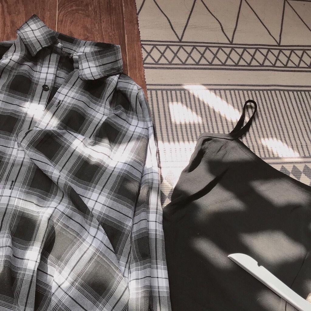Váy Hai Dây Body Mix Áo Sơ Mi Caro ❤️ Set áo sơ mi rộng caro và váy 2 dây body SIÊU HOT ❤️
