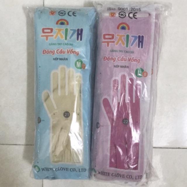 Găng tay cao su ĐÔNG CẦU VỒNG dài M L XL Có Nếp Nhăn