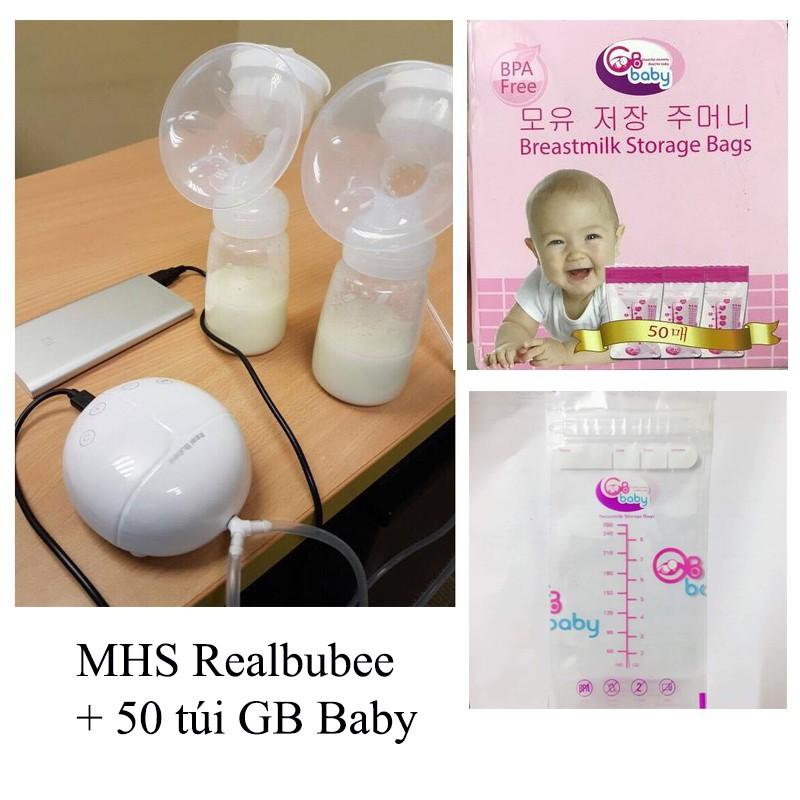 Combo máy hút sữa Realbubee và 50 túi trữ sữa GB Baby Hàn Quốc
