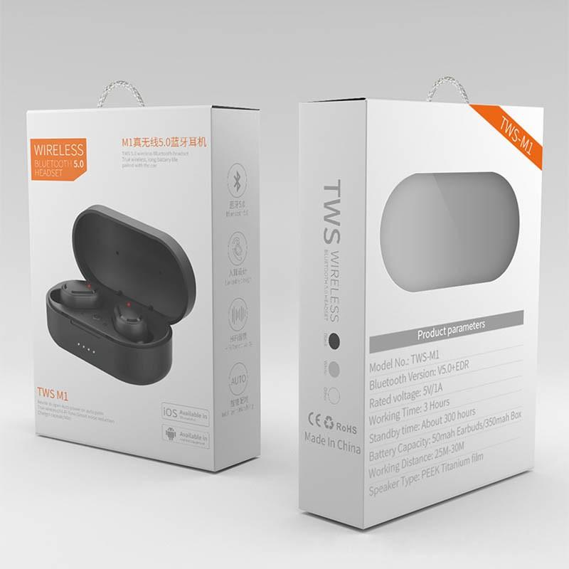 Tai nghe Bluetooth TWS M1 cao cấp kết nối 5.0 có đốc sạc