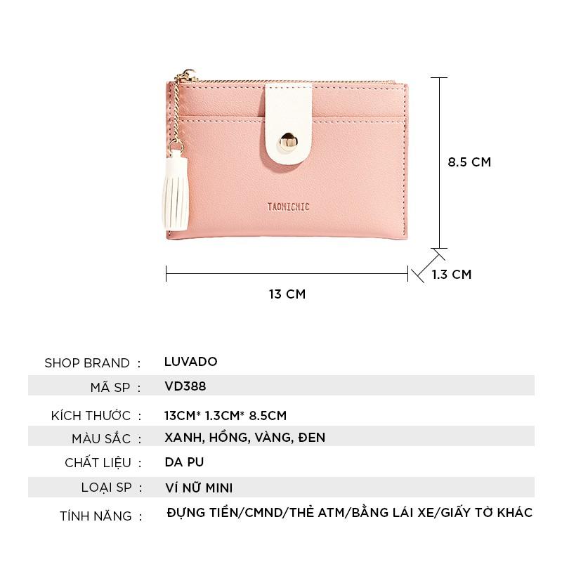 Ví nữ gấp 3 mini TAOMICMIC dễ thương nhỏ gọn bỏ túi cao cấp nhiều ngăn đựng tiền LUVADO VD388