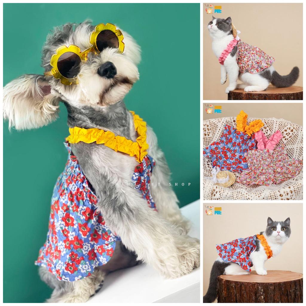 Váy Hoa Mỏng Mát Thời Trang Thiết Kế Hàn Quốc Chó Mèo Quần Áo Thú Cưng Cao Cấp Hihapet.