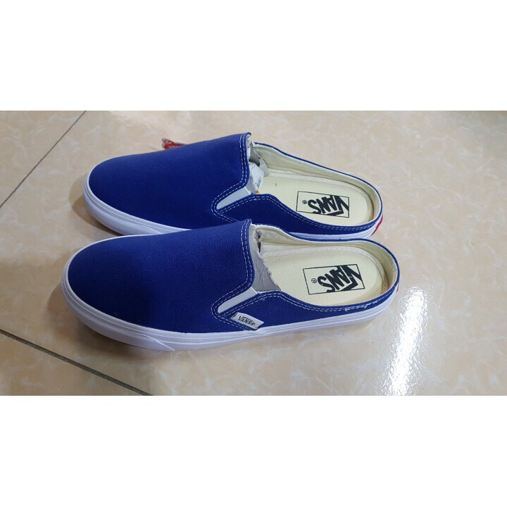 [GIẢM GIÁ 60%] Giày Vans sục màu xanh dương cô ban