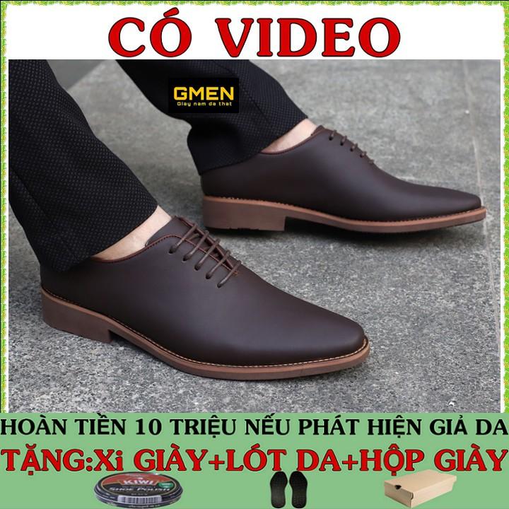 Giày tây nam da bò mềm mại đế cao su êm chân phong cách trẻ trung lịch lãm TK0689
