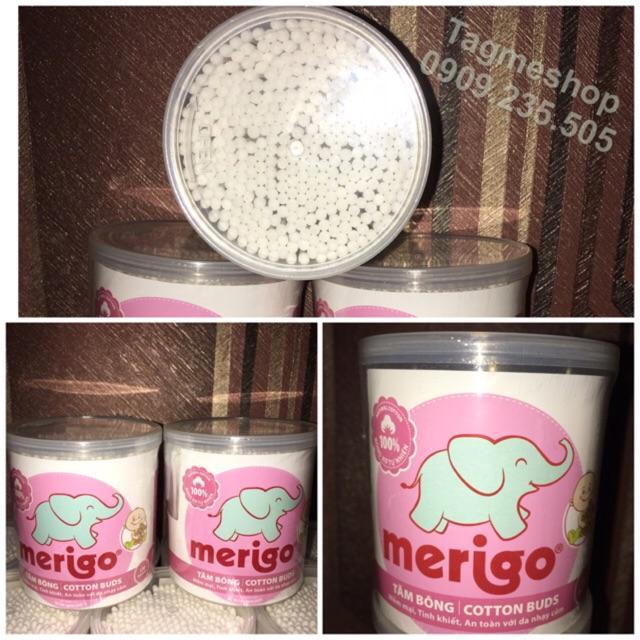 Tăm Bông Baby Merigo - 330 que (hộp tròn nắp xoay) -BÔNG BẠCH TUYẾT