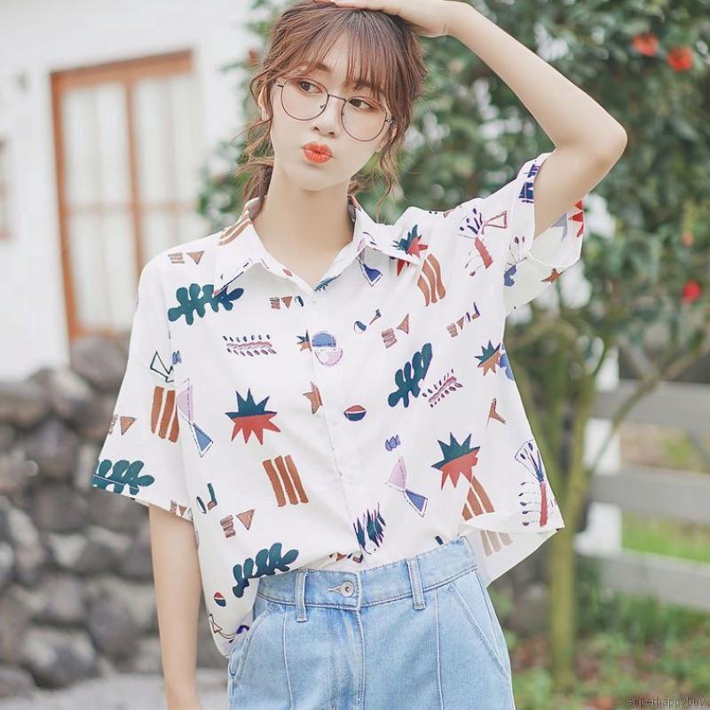[Mã WACB21 hoàn 20% tối đa 50K xu đơn 99K] Áo sơ mi trắng in họa tiết hoạt hình phong cách Hàn Quốc cho nữ