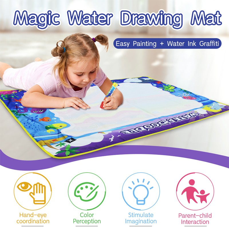 110x80cm Water Drawing Mat & 3 Magic Pens & 1 Brush & 2 EVA Stamp Kids Doodle Painting Toys