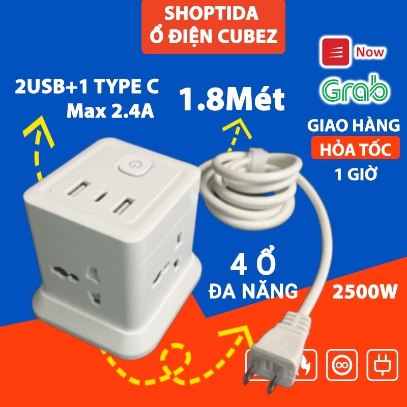 Ổ Cắm Điện Đa Năng CubeZ Shoptida 2 Cổng USB 1 Type C sạc tối đa tổng 12W và 4 Ổ Điện chịu tải 2500W Dây nối dài 1.8m