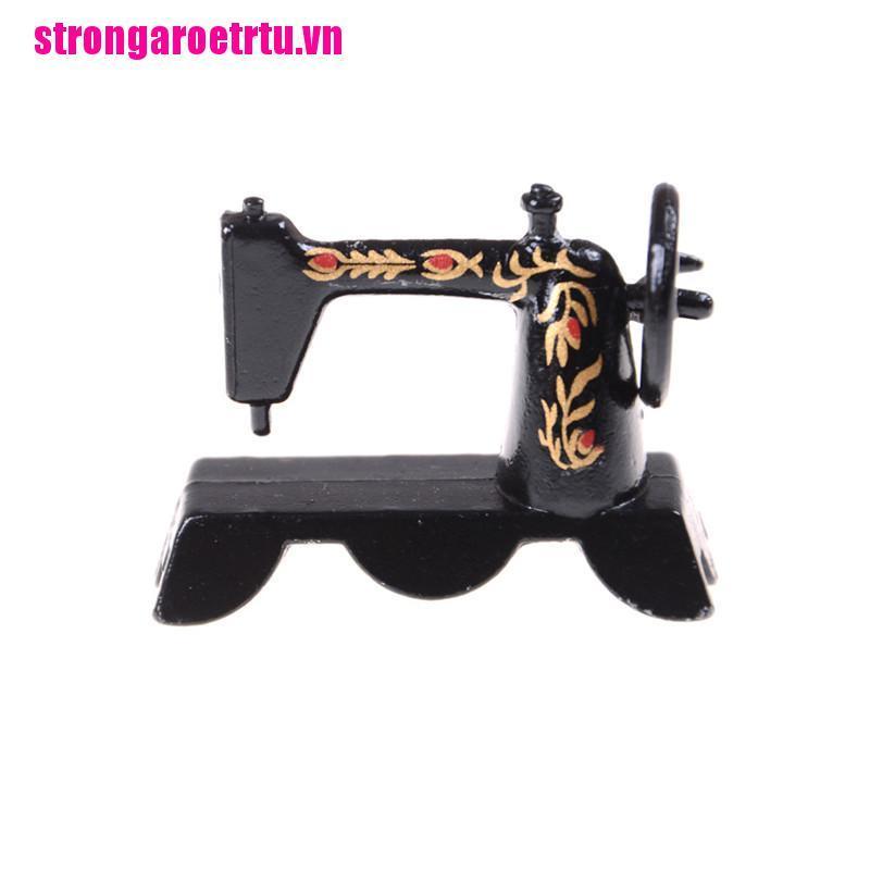 【well】Cute Mini 1:12 Dollhouse Miniature Black Sewing Machine