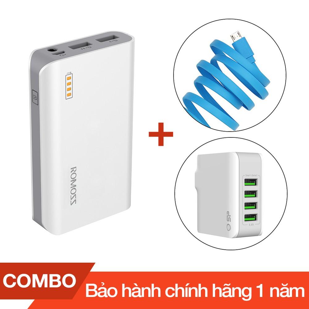 Combo Pin sạc dự phòng 6000mAh Solit 3 Romoss + Cáp sạc micro USB dài 1m + Cốc sạc 4 cổng USB 4.4A m
