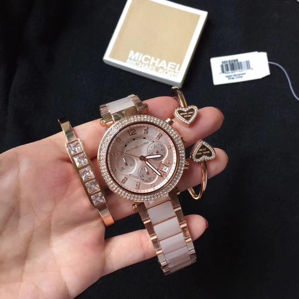 Michael Kors MK5896 Gold Steel Bracelet & Case Mineral(สร้อยข้อมือฟรี)