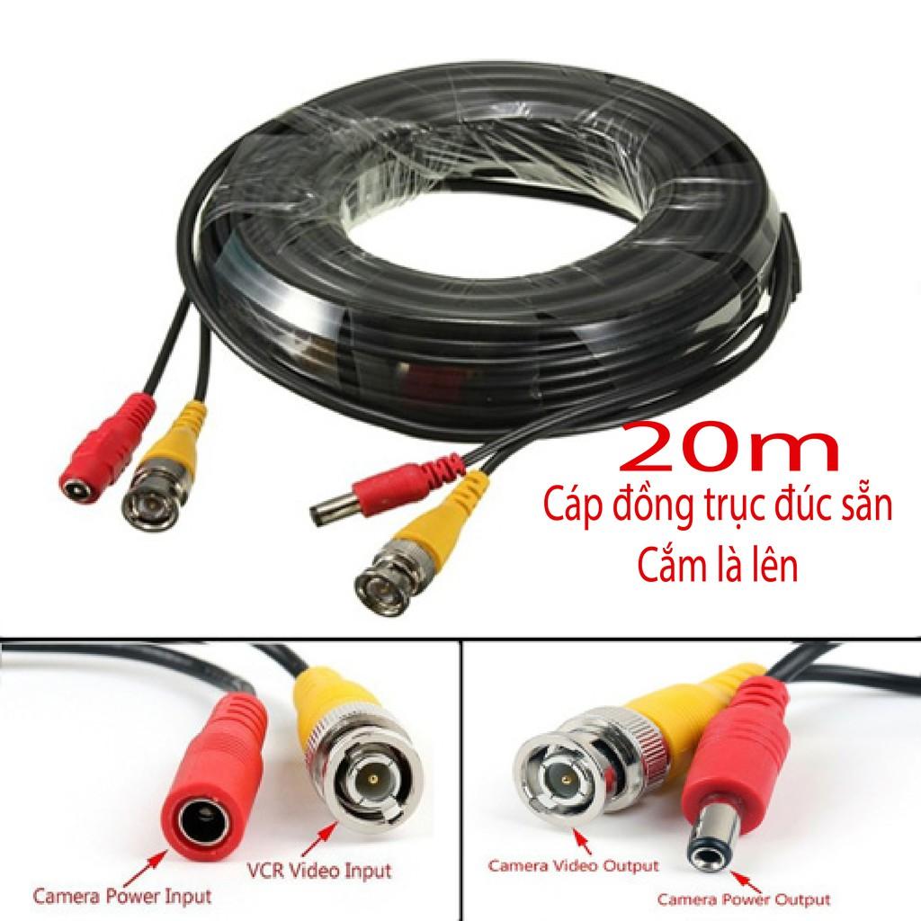 [20m] Cáp đồng trục liền nguồn, BNC đúc sẵn cao cấp bấm sẵn 2 đầu BNC, DC dài 20m dùng cho Camera