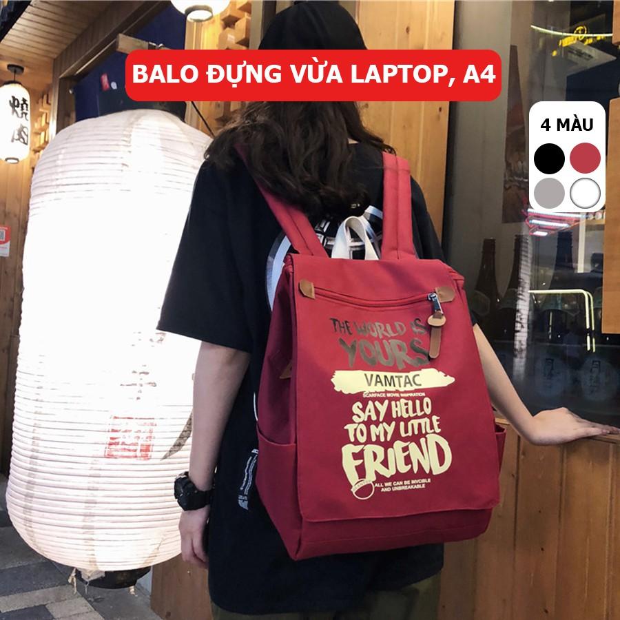 [Video thật] Balo thời trang ulzzang vải Oxford đựng laptop, A4 Vamtac TX31