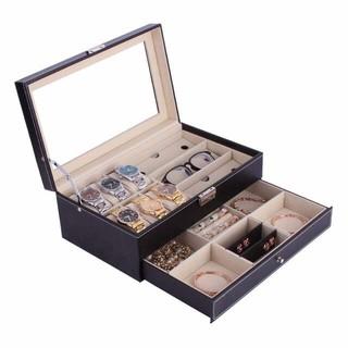 Hộp đựng kính mắt, đồng hồ, phụ kiện, trang sức 2 tầng tiện dụng da PU cao cấp